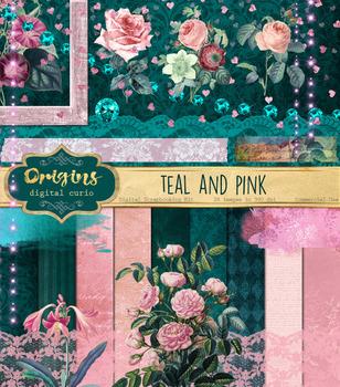 Teal and Pink digital scrapbooking kit, vintage flowers cl