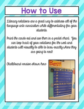 Literacy Rotation Cards