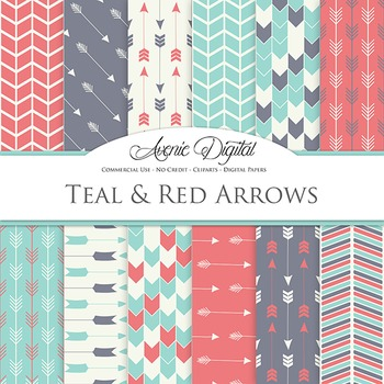 Teal and Red Arrows Digital Paper patterns tribal scrapbook background
