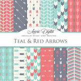 Teal and Red Arrows Digital Paper patterns tribal scrapboo