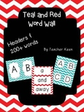 Teal and Red Word Wall - Headers and Words
