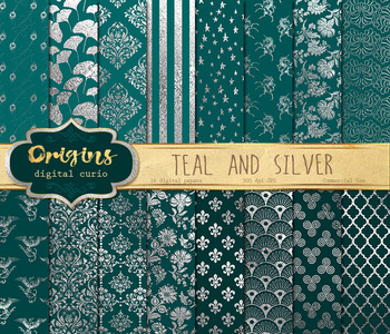 Teal and Silver Digital Paper, aqua turquose silver foil patterns backgrounds