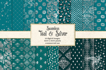 Teal and Silver Digital Paper, seamless turquoise background patterns
