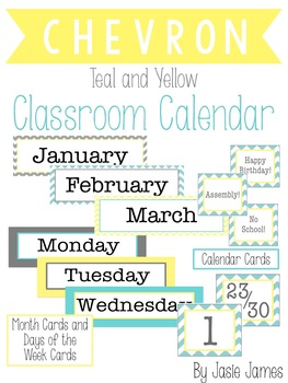 Teal and Yellow Chevron Classroom Calendar