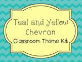 Teal and Yellow Chevron Classroom Theme Kit