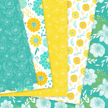 Teal and Yellow Floral Digital Paper patterns blue dahlia flower background