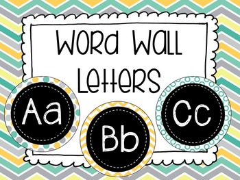 Teal and Yellow Word Wall Letters