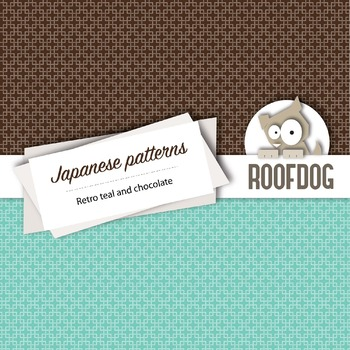 Teal and chocolate Japanese style patterns—digital paper