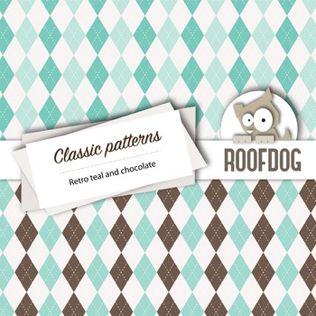 Teal and chocolate classic patterns—argyle, houndstooth, chevrons, gingham