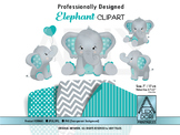 Teal and gray elephant clipart