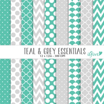 """Teal and grey Papers """"Essentials"""""""
