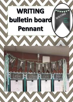 Teal chalkboard WRITING bulletin board pennant