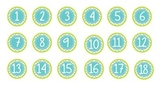 Teal/Green Chevron Circle Labels