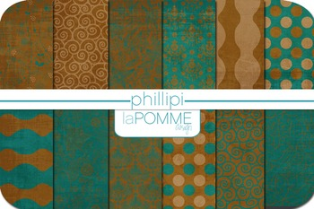 Turquoise Teal & Brown Patterned Digital Paper Pack