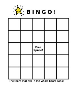 Team BINGO Board - Classroom Management