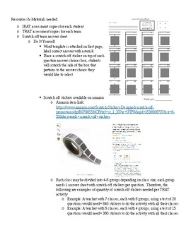Team Based Learning (TRAT) Team Scratch off answer sheet template