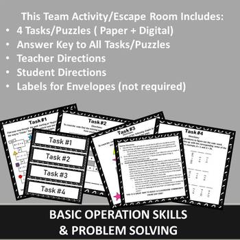 Team Building Activity, Team Building Escape Room, Back to School Math Activity