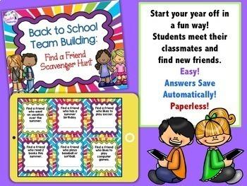 Paperless Digital Task Cards for Google Classroom BACK TO SCHOOL SCAVENGER HUNT