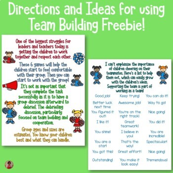 Team Building Freebie For Summer Camp and Summer School Groups