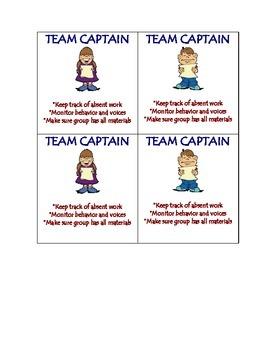 Team Captain Desk Cards