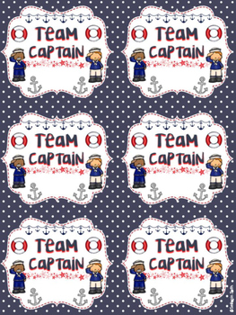 Team Captain Identification Cards/Table Cards