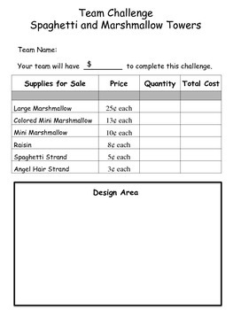 stem team challenge spaghetti marshmallow towers price planning sheets. Black Bedroom Furniture Sets. Home Design Ideas
