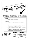 Team Check- Dividing Decimals by Decimals