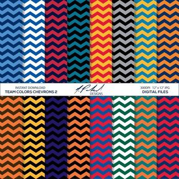 Team Colors Digital Paper Pack 2 - Chevron Pattern