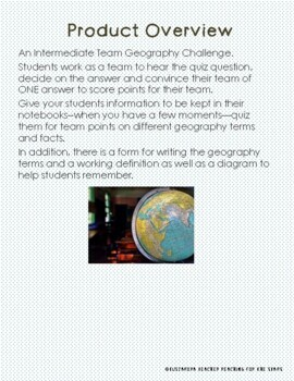 Team Geography Challenge for Intermediate Grades