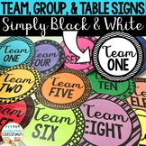 Team, Group, and Table Signs: Simply Black and White