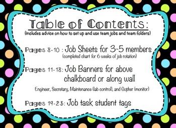 Team Jobs Set Up Kit for Grades 1-5