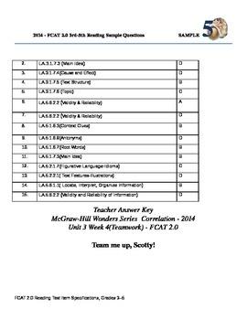 """Team Me Up,Scotty!-Standardized Assessment  - Wonders Unit 3 wk 4""Teamwo"