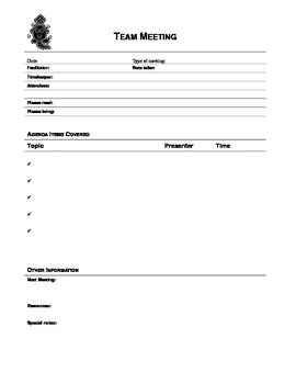 Team Meeting and PLC Recording Sheet