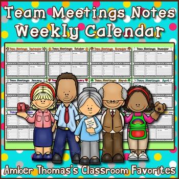 Team Meetings Notes Weekly Calendar