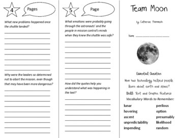 Team Moon Trifold - Journeys 6th Grade Unit 3 Week 5 (2014, 2017)