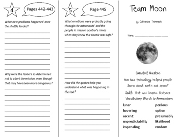 Team Moon Trifold - Journeys 6th Grade Unit 3 Week 5 (2014, 2017)