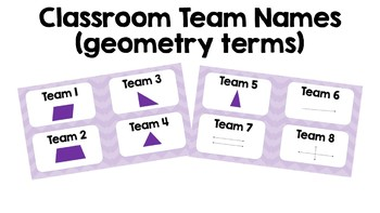 Team Name Tags Chevron Classroom Management