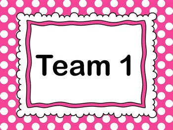 Team Number Posters and Center Cards - Polka Dot Theme in 9 Colors