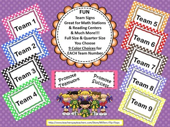 Team Number Posters and Center Cards - Polka Dot Theme in