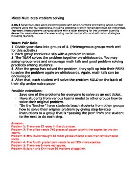 Team Pair Solo 4.OA.3 Mixed Multi-Step Problem Solving