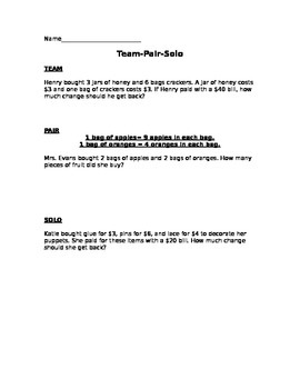 Team Pair Solo Math Story word problems