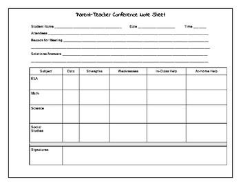 Team Parent-Teacher Conference Note Sheet
