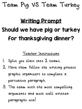 Team Pig VS Team Turkey Persuasive Writing Lesson