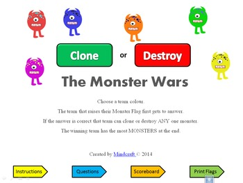 Plus or Minus Monster Wars: an addition & subtraction to 20 quiz game