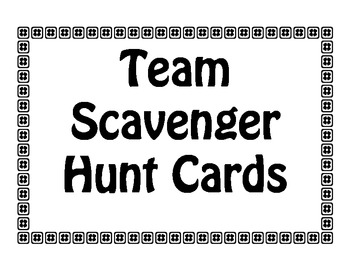 Team Scavenger Hunt Cards