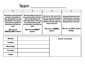 Team Score Sheet