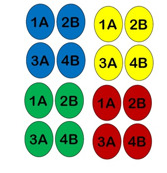 Team Seat Numbers - Cooperative Learning