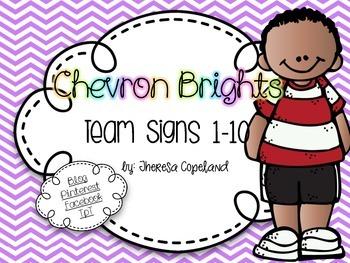 Team Signs 1-10 {Chevron Brights}