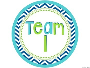 Circular Team Signs 1-12 {Navy, Turquoise, Lime Green}