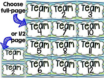 Team Signs 1-12 {Navy, Turquoise, Lime Green}